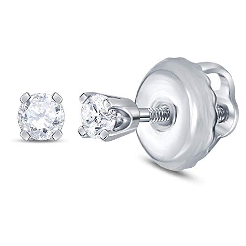 The Diamond Deal 14kt White Gold Girls Infant Round Diamond Solitaire Stud Earrings 1/20 Cttw ()