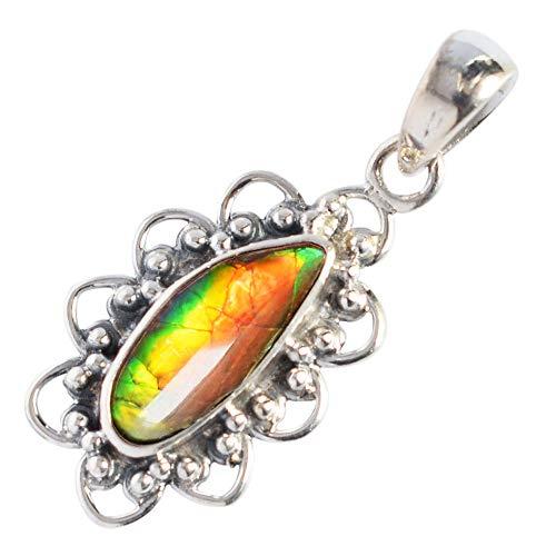 Ravishing Impressions Natural Red Yellow Green Fire Ammolite Gemstone Pendant, Canadian Ammonite, 925 Sterling Silver Jewelry, Handmade Jewellery, Gifts FSJ-3703