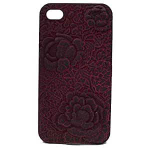 SHOUJIKE 3D Crack Embossed Roses Phone Cases for iPhone 4/4S(Assorted Colors) , Red