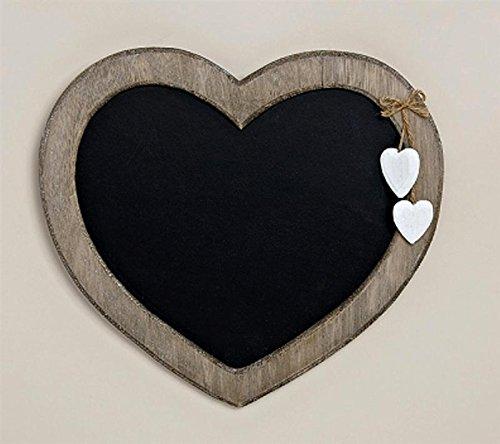 Landhaus Memotafel in Herzform zur Beschriftung mit Kreide, 30cm x 27cm Küchentafel Kreidetafel Herz