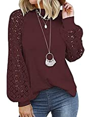 imrusan Women's Long Sleeve Tops Lace Casual Loose Blouses T Shirts, S-2XL