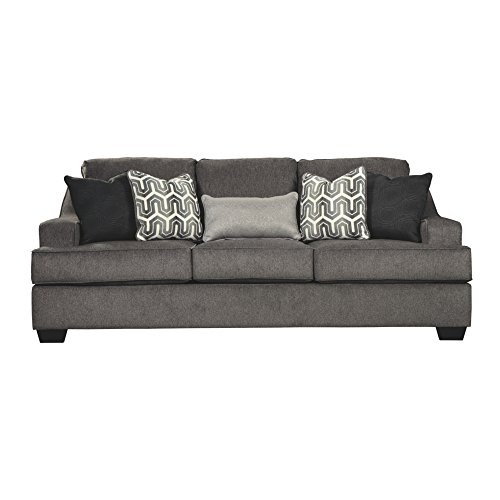 Ashley Furniture Signature Design - Gilmer Chenille Upholstered Sofa w/ Accent Pillows - Contemporary - Gunmetal