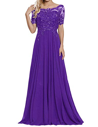 Mother of The Bride Dresses Scoop Neck Long Formal Evening Gowns Purple US28