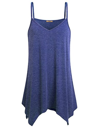 - Miusey Tank Tops for Women Juniors V Neck Fowly Swing Tunic Tops Handkerchief Hem Spaghetti Strap A Line Cami Casual Summer Stretch Beach Wear Semi Fashion Swing Hemline Pretty Camisoles Blue M