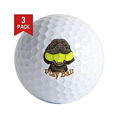 CafePress - Play Ball, Labrador With Tennis Balls - Golf Balls (3-Pack), Unique Printed Golf Balls