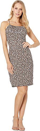 (bebe Womens Gathered Halter Mini Dress Leopard LG )