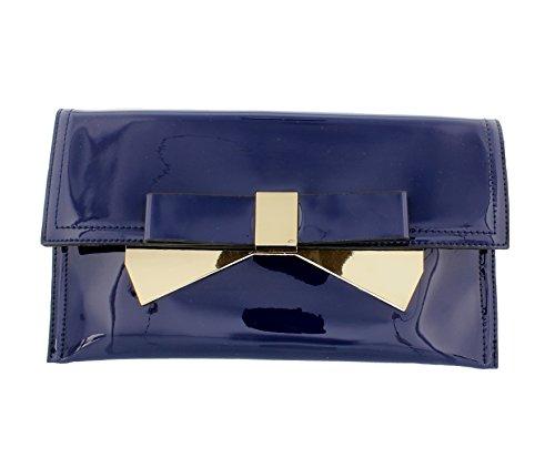 De Noche Patente Azul Bolsa Arco Embrague qzEw8B8F
