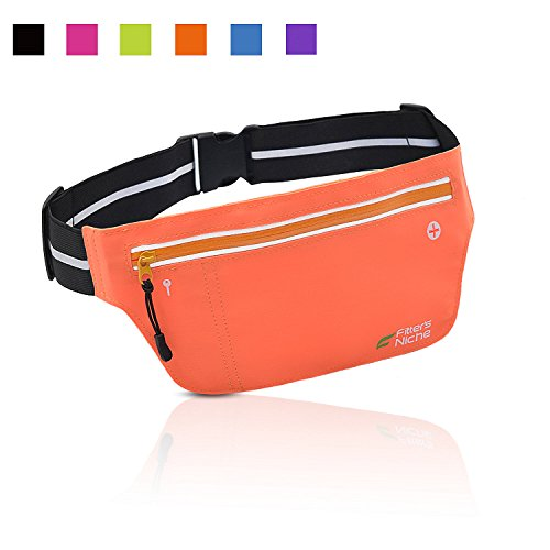 Fitters Niche UltraSlim Running Belt Fitness Outdoor Sports Waist Fanny Packs, Water Resistant Reflective Adjustable, Fit Smartphone IPhone 8 7 Plus Samsung, Cycling, Walking, Orange