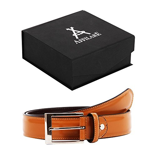 41-42 Affilare Men's Genuine Italian Leather Dress Belt 35mm Tan 12ST22TN from Affilare