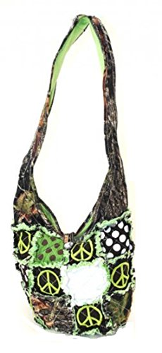 T&t Camo Ragbag Messenger Bag Purse Peace Green