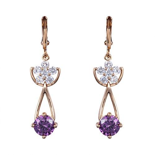 Real Spark(TM) Women Girls 18K Gold Plated Puple Rhinestone Pendant Flower Crystal Cluster Drop Earrings