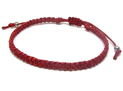 Fashion Handmade Bracelet Red Wax Rope Rhodium Beads
