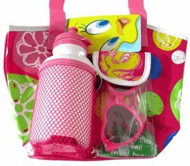 Small Pink Tweety Bird Beach Bag w/ Waterbottle and Sunglasses