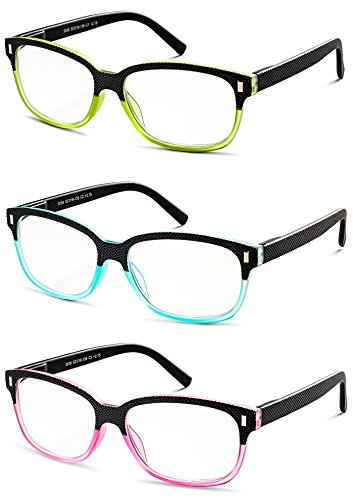 (Colorful Set of Reading Glasses (Crystal Pink, Green and Blue with Black) +1.00 Value 3 Pack)