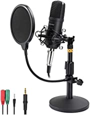 Microphone Kit AU-A03T PC Condenser Podcast Streaming Cardioid Mic Plug & Play for Computer,YouTube,Gaming Recording,Broadcasting (Black)