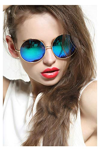 GEELOOK Oversized Round Circle Mirrored Hippie Hipster Sunglasses - Metal Frame]()