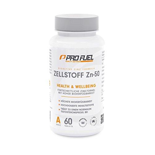 Hochdosierte Zink-Tabletten in Deutscher Premium Qualität | Zinkmangel vorbeugen und Symptome bekämpfen mit Zinkbisgcycinat | Immunsystem stärken, Hautbild reparieren | ProFuel ZN-50 / 60 vegane Tabletten