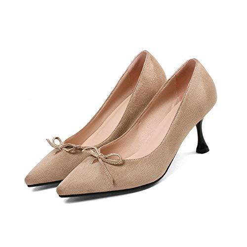 2019 Women Shoes Summer High Heels 6CM Pumps Kitten Heels Shoes Black Office Lady Classic Working Shoes,Beige,43