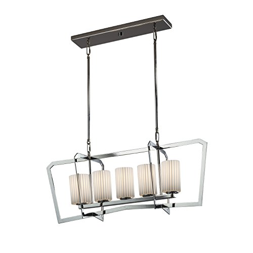 Justice Design Group Lighting Por-8015-10-Plet-Crom-LED5-3500 Porcelina-Aria 5-Light Island Intersecting Chandelier Pleats, Polished Chrome (10 Chandelier Light Aria)