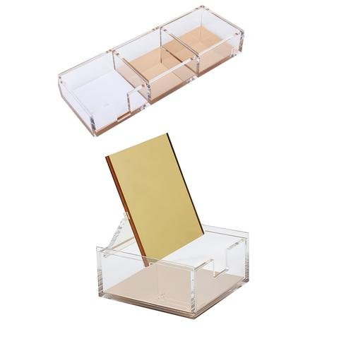 Acrylic Gold Desktop Stationery Series 1 Mirror Storage Box 1 Desk Sorter with 320 Sheets (Clips Sold (Gold Stationery Boxes)
