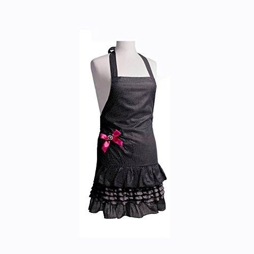 FirstKitchen Cotton Kid Girl Apron, Black Polka Dots Apron for Children, Cooking Apron for Kid Girls, Baking Apron with Oval Pocket with Bow Knot (Kid ()