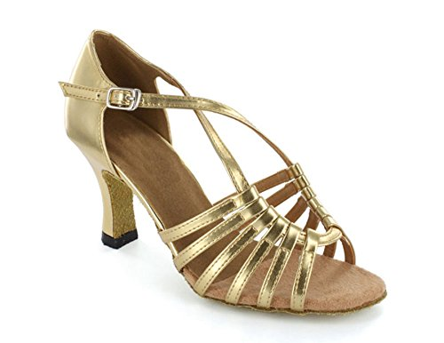 TDA Womens Strappy Cross Strap Cut-out Vintage Classic Modern Dance Shoes Flared Heel Shoes Glod VgJ2grY