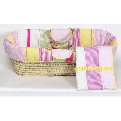Bacati - Girls Plaids & Stripes Moses Basket (Pink/Green/Yellow)
