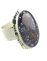 Orgone Energy Large Oval Cocktail Ring with Amethyst in Silver Finish