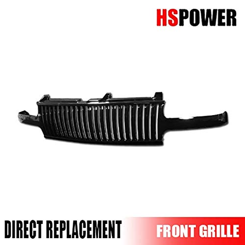 HS Power Black Finished Front Vertical Grill Grille for 1999-2002 Chevy Silverado/Tahoe / Suburban ()