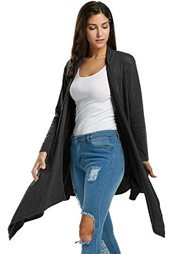 A Schwarz Autunno Modern Outwear Pullover Stile Giovane Casual Giubotto Lunga Giacca Donna Irregular Moda Manica Confortevole Monocromo Maglia Pieghe dqtWdwcHU