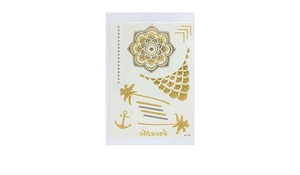 Tatuaje efímero metálico mandala palmera: Amazon.es: Belleza
