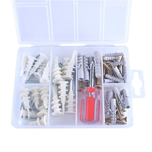Zenith Hardware 77 Piece Heavy Duty 20-50LBS Self Drilling EZ Kit Hanging Pictures Ceiling TV/Furniture Shelves Mount Nylon Drywall Anchor 6 Sizes W/ Screws Assortment Kit Bonus Phillips Screw Driver