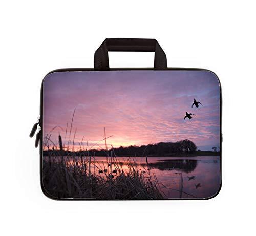 Double Zipper Laptop Bag,Ducks Landing at Sunrise,13 inch Canvas Waterproof Laptop Shoulder Bag Compatible with 11.12.6