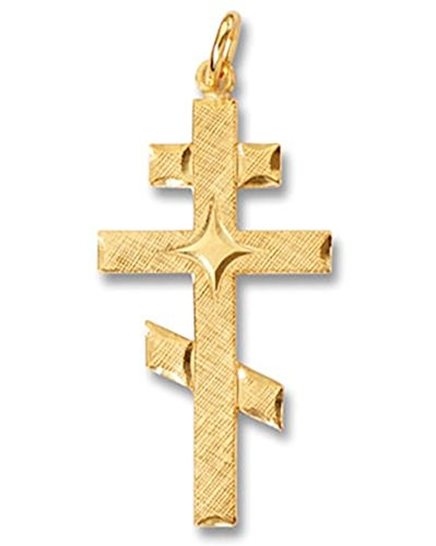 (Religious Gifts Sterling Silver Gold Tone Three Bar Russian Byzantine Orthodox Cross 1 1/16 Inch)
