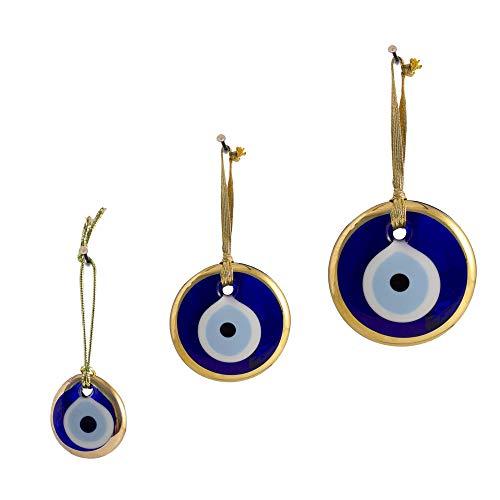 Ebsem Gold Gilt Handmade Evil Eye Glass Charm Decorative Turkish - Greek - Jewish - Christian Christmas Ornament (1.5