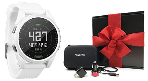 Bushnell Excel (White) GIFT BOX Bundle | Includes PlayBetter USB Car/Wall Charging Adapters, Protective Hard Case, Gift Box, Red Bow | Golf GPS Watch w/ Activity Tracking by PlayBetter