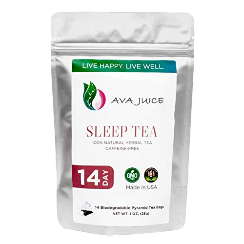 Ava Juice Herbal Sleep Tea - Zero Caffeine Sleeping Aid and Relaxation Drink for Night - Chamomile, Saffron, Licorice, Ginger Root, Fennel Seed, Spearmint, Lemon Grass and Holy Basil and Rose Hips