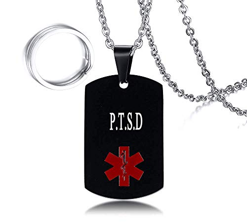 Men's Stainless Steel Medical Alert P.T.S.D Dog Tag Pendant Necklace Black,Men Jewelry Gift