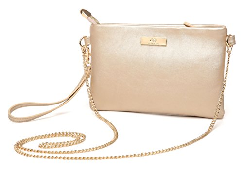 Aitbags Soft PU Leather Wristlet Clutch Crossbody Bag with Chain Strap Cell Phone Purse Light Gold