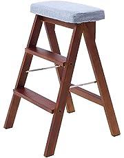 Stepladder Folding 3 Tread Stepstool Ladder Chair, Wood Stair Chair Dining Chair High Stool Home Garden Tool