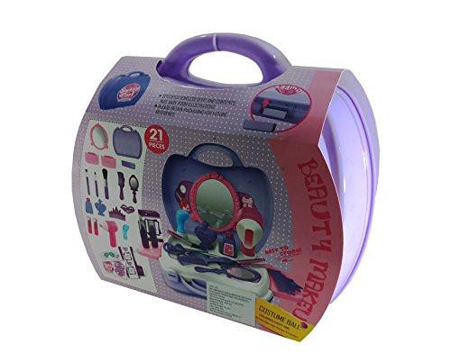 Girls Beauty Makeup Kit Cosmetic Pretend Play Beauty Salon Toy Set w Mirror 21 Pcs by KMS (Image #1)