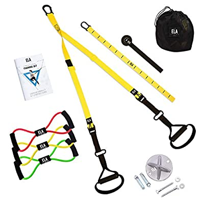 Suspension Trainer Kit I All in One I Bodyweight Training Straps + 3 Resistance Loop Bands + Wall Mount Bracket + Carrying Bag + Exercise Book I Body Workout & Home Gym