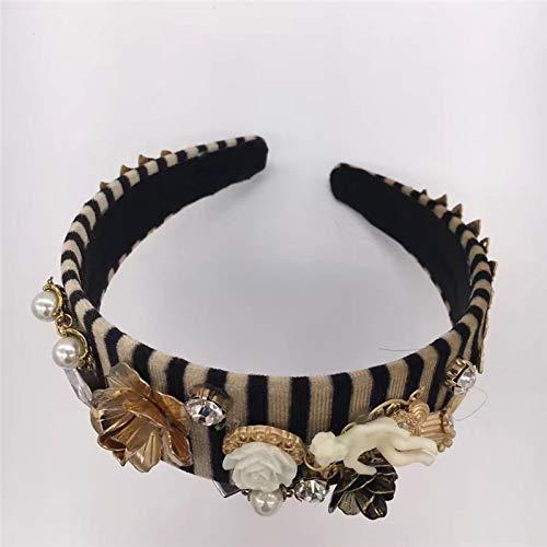 (Fashion Charm Striped Velvet Baroque Crystal Crown Tiara Tiara Headband Crown Tiara Diadem Angel Hair Accessories For Women Wedding Birthday Party Jewelry Gift)