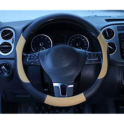 Circle Cool Micro Fiber Leather Car Steering Wheel Covers, Universal 15 inch, Anti Slip Odorless , Breathable Cooling: Automotive