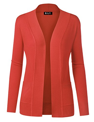 Price comparison product image BILY Women Open Front Long Sleeve Classic Knit Cardigan Baby Coral Large