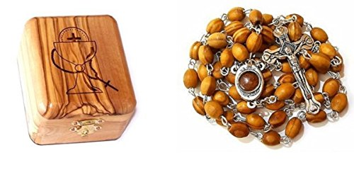 Bethlehem Olive Wood First Communion Jewelry Box with Rosary by Bethlehem Gifts TM (Holy Soil Silver Crucifix)