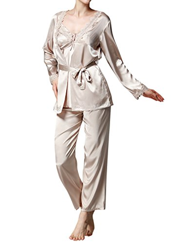LAPAYA Women's Pajama Sets 3 Piece Lace Trim Camisole and Long Pj Pant with Robe, Camel, Tag size L=US size (3 Piece Lace Trim)