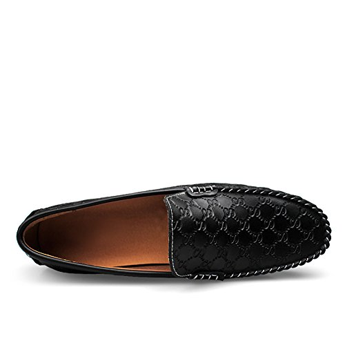 9925 End 5 Stylish Driving Custom Classy Leather Loafers Shoes US11 High Black Mens Embossing rismart qE6w77