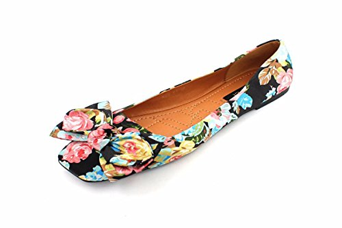 KPHY Bow Wedding Spring Shallow Shoes Women'S Single Five Shoes Thirty Black Printed Square Fairy Square Shoes Shoes Tie r8Wxrcnf