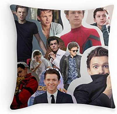 HOJJP Taie doreiller Tom Holland Collage for Sofa Couch Living Room Bed Decorative Square 24x24